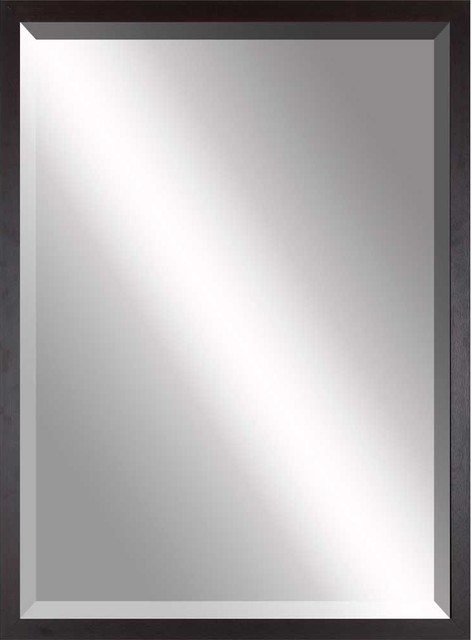 Beveled Mirror Simple Thin Brown