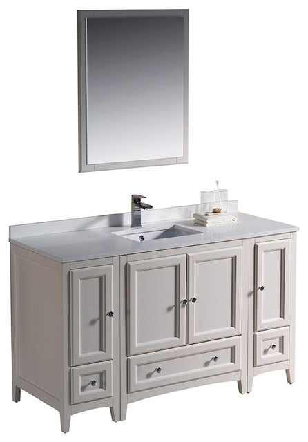 Fresca Oxford Traditional Bathroom Vanity With Mirror, Antique White, 54.