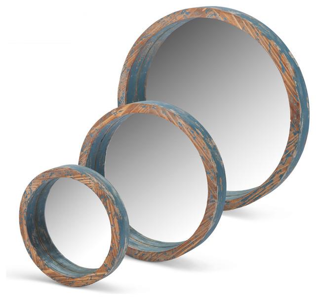 Wood Round Mirrors Set Of 3