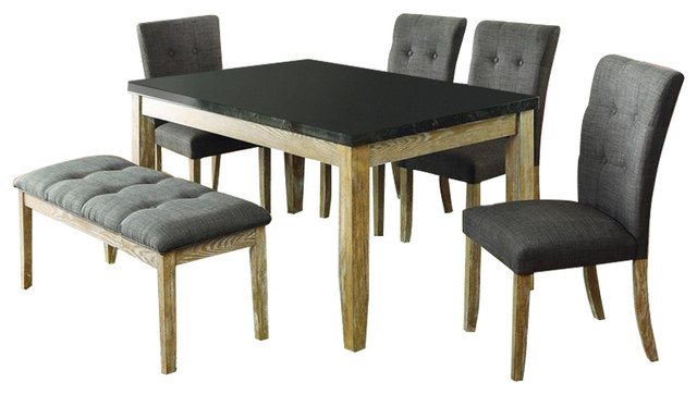 Homelegance Huron 6 Piece Dining Room Set With Faux Marble Top Light Oak