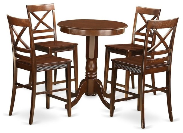 5-Piece Counter Height Dining Set, Pub Table And 4 Dining Chairs by East West Furniture