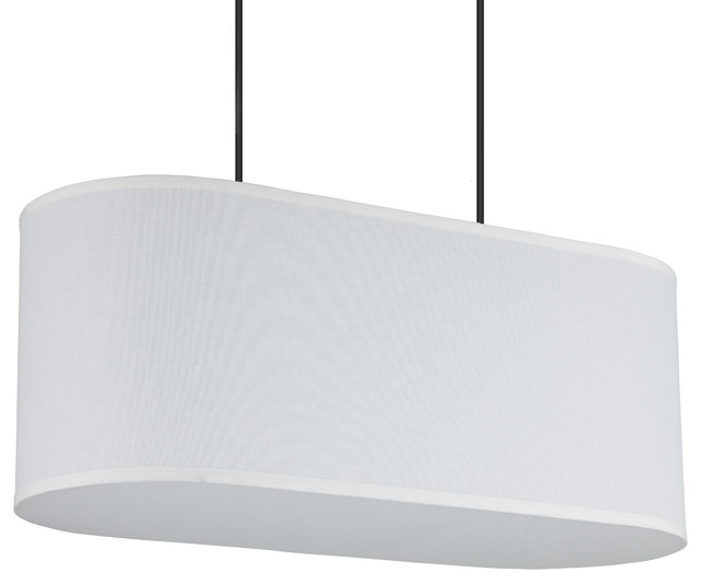 Blip 20 Long Pendant Light In White Linen Shade.