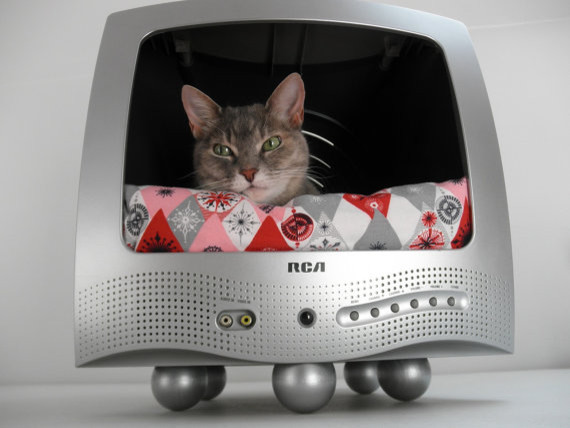 Recycled TV Pet Bed by Lucky Lenore Vintage