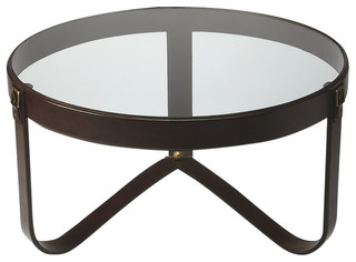Butler Alonzo Glass & Leather Cocktail Table