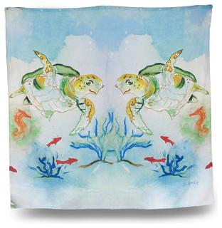 "Betsy Drake Sea Turtle Print Shower Curtain 70""x72"""