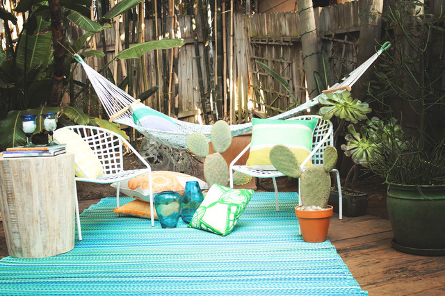 Fab Habitat Indoor Outdoor Plastic Rug, Cancun, Turquoise and Moss Green, 5'x8'