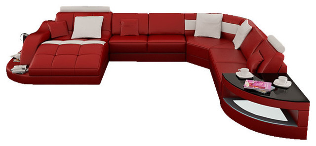 Rj Large Leather Sectional Red With Snow White Trim