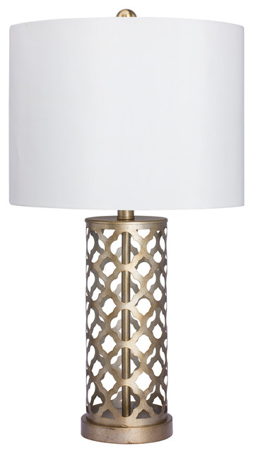 Fangio Lighting Moroccan Weave Metal Table Lamp, Muted Gold Finish.