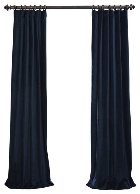 Navy Vintage Cotton Velvet Curtain Contemporary