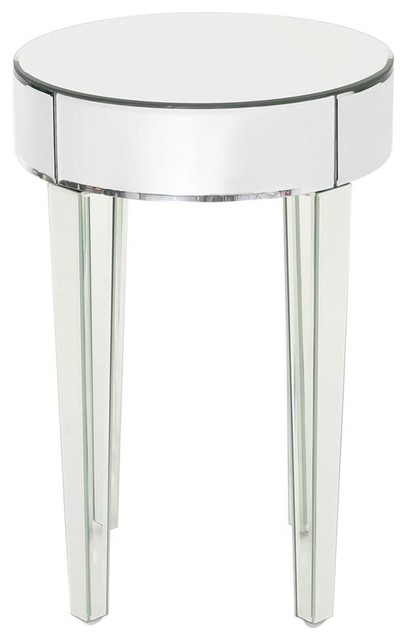 Exceptionnel Mirrored Round Side Table