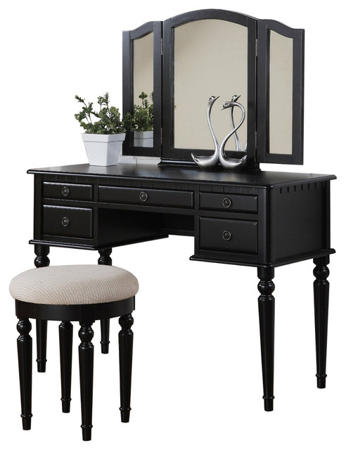 Tri-Folding Mirror Make Up Table Vanity Set Wood With Stool 5 Drawers, Black