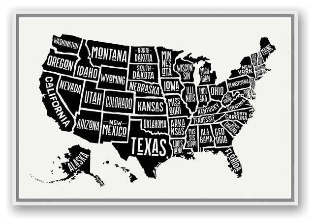 framed united states map Simple United States World Map 24x36 White Floating Framed Canvas