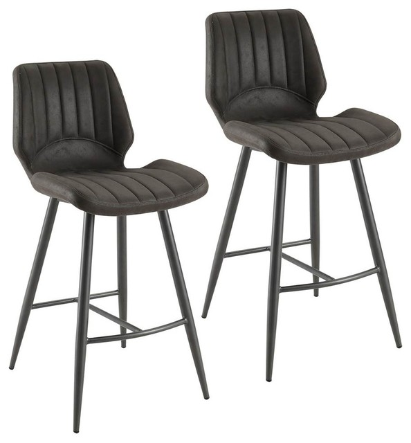 Excellent Faux Suede Counter Stools Gray Set Of 2 Gmtry Best Dining Table And Chair Ideas Images Gmtryco