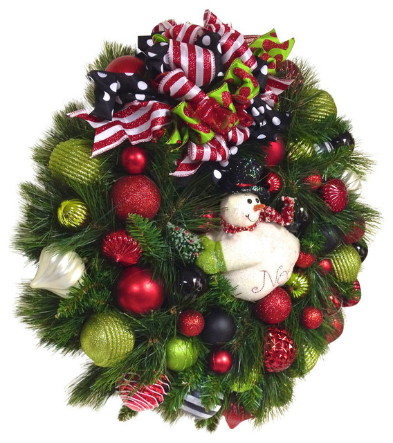 27 Snowman Christmas Wreath Red White Black Lime Green