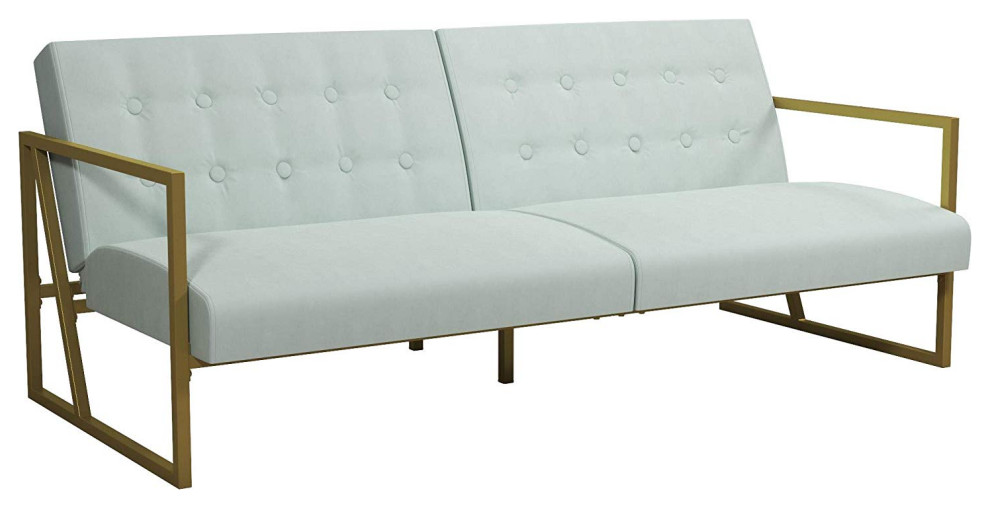 Modern Futon Couch Gold Finished Metal