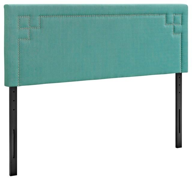 Modern Contemporary Urban Design Bedroom King Size Headboard, Blue, Fabric.