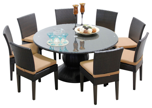 Napa 60 Inch Outdoor Patio Dining Table with 8 Armless Chairs