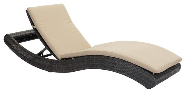 Pamelon Beach Chaise Lounge, Brown & Beige tropical-indoor-chaise-lounge- - Pamelon Beach Chaise Lounge, Brown & Beige - Tropical - Indoor