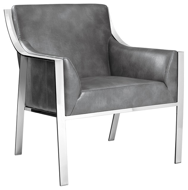 Hyde Leather Armchair Gray Color Contemporary