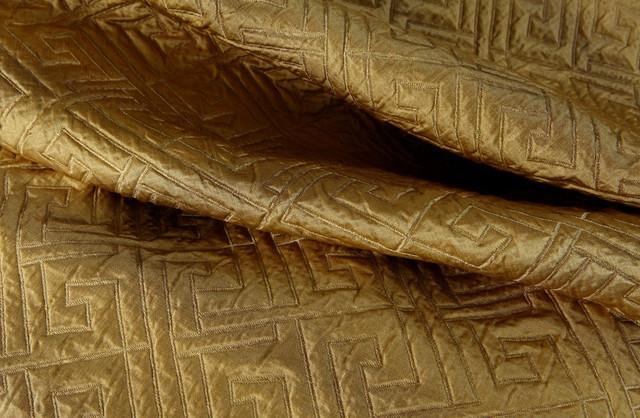 Matelasse Greek Key Silk Upholstery Fabric in Gold