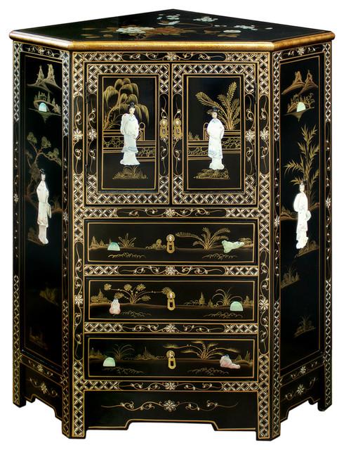 Mother Of Pearl Motif Corner Cabinet