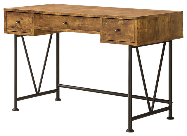 Coaster Furniture - Coaster Writing Desk, Antique Nutmeg/Black - Desks and  Hutches - Small Antique Writing Desks Houzz