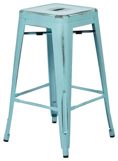 "Bristow 26 H"" Antique Metal Barstool, Set of 4, Antique Sky Blue, 26"""