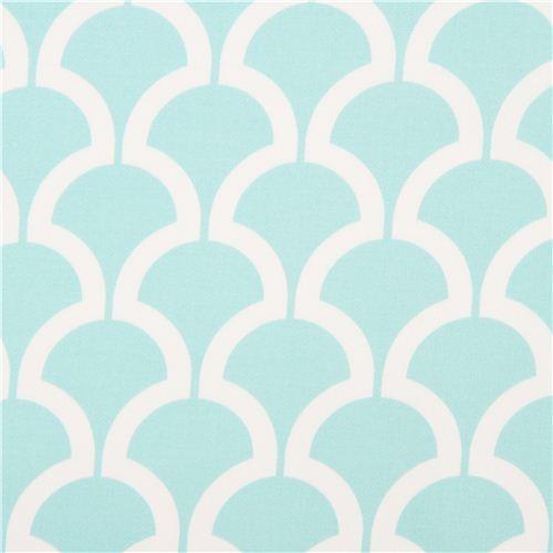 Light Blue Pattern Cotton Sateen Fabric Michael Miller