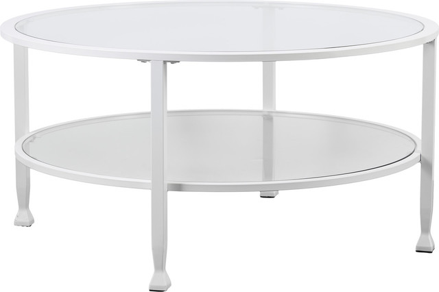 Jaymes Metal Glass Round Cocktail Table Contemporary