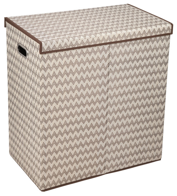 Collapsible laundry sorter with lid chevron contemporary hampers by harvey haley - Modern hamper with lid ...