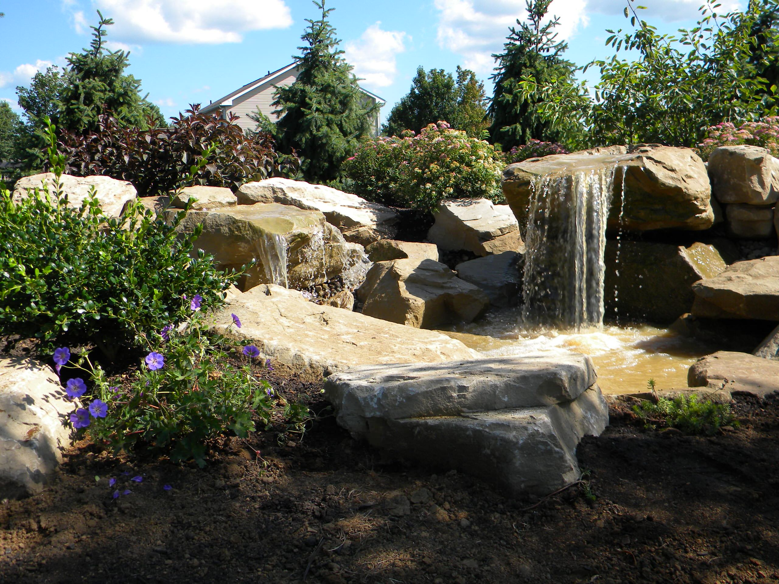 Carved stone water features