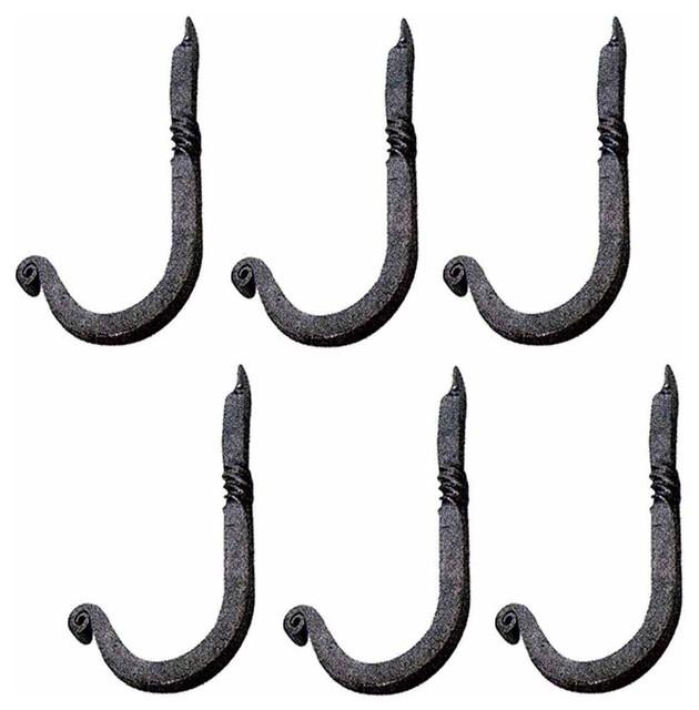 "6 Hook Black Rsf Iron Single 3 1/2""h X 1 1/4"" Proj."