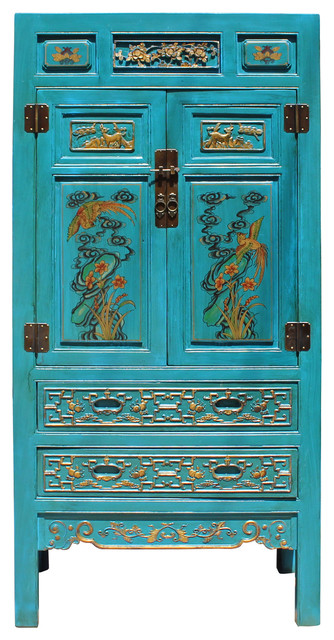 Carving Graphic Armoire Storage Cabinet