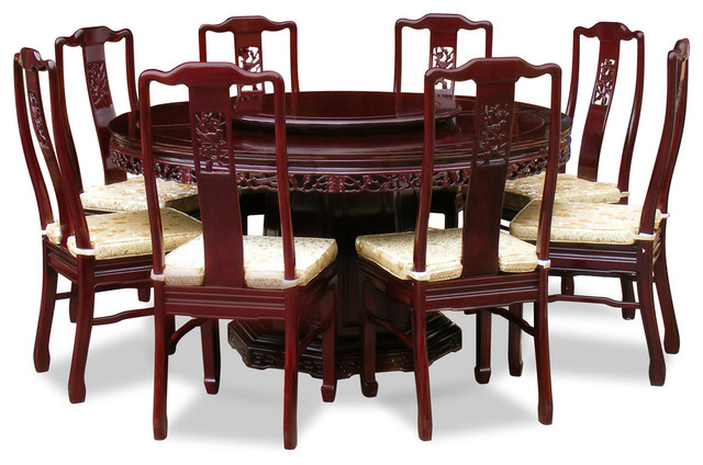 60 Rosewood Flower And Bird Design Round Dining Table With 8 Chairs Asian Dining Sets By China Furniture And Arts