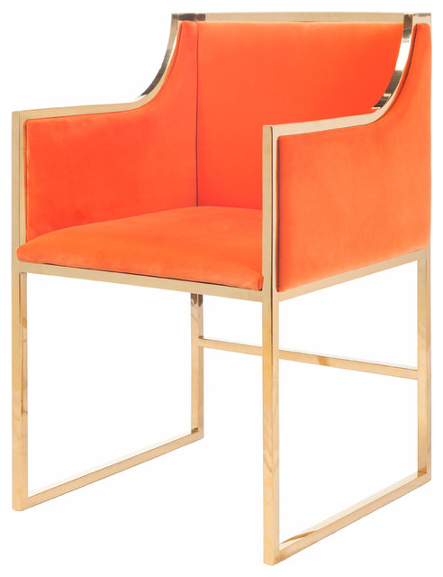 Anastasia Hollywood Regency Orange Velvet Brass Frame