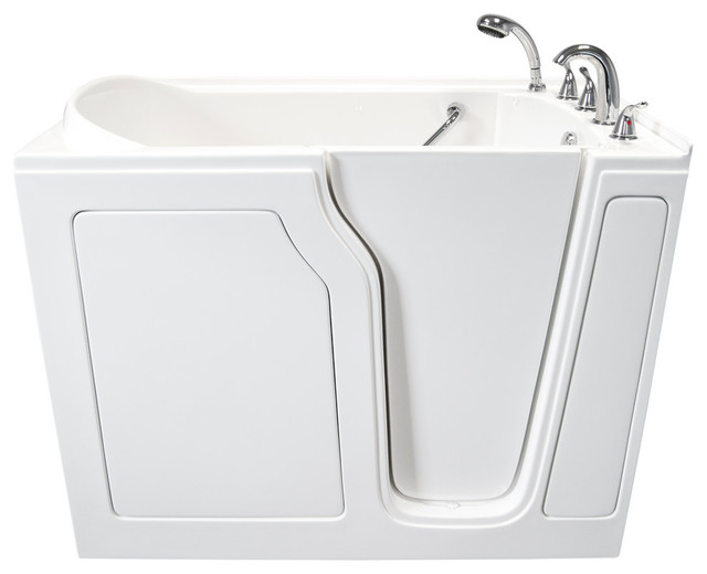 """White Dignity 48""""x28"""" Soaking Walk-In Bathtub With Right Hand Door."""