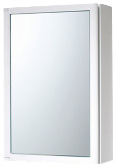White Cabinet With Mirror Door Made Of Thermoplastic Resins.