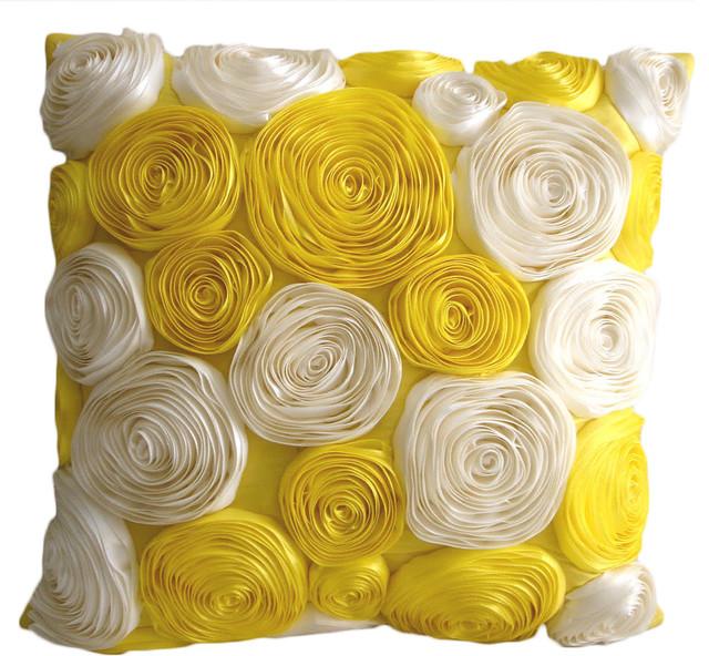 Satin ribbon 16x16 silk yellow throw pillows cover sun blooms satin ribbon 16x16 silk yellow throw pillows cover mightylinksfo