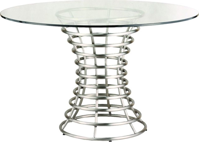 Ibiza Brushed Stainless Steel Dining Table With Clear Glass.