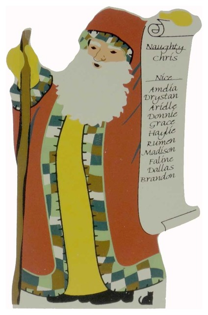 Cats Meow Naughty Or Nice Santa Standing Pressed Wood Christmas 11601.