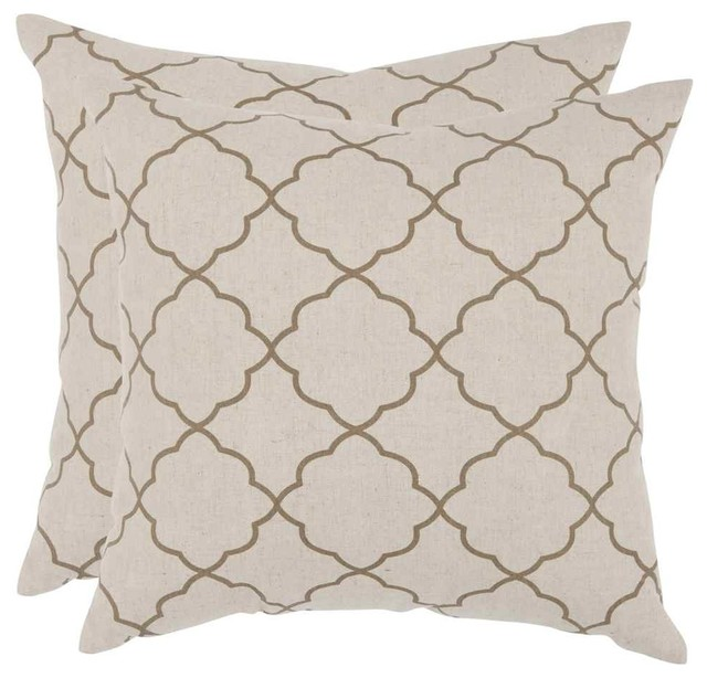 Safavieh sophieecorative pillows taupe set of 2 decorative pillows houzz - Deco taupe ...