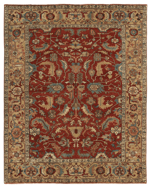 Avni antique style weave serapi rug red and gold for Red and gold area rugs