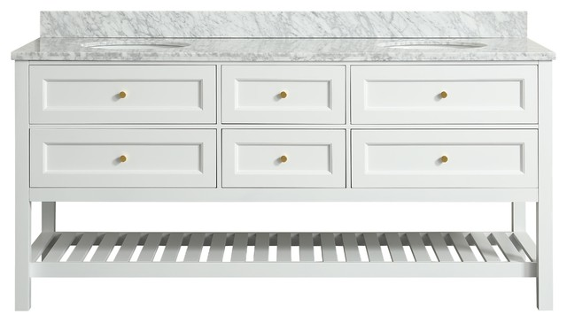 Elma White Bathroom Vanity With Carrara Marble Top, 72""