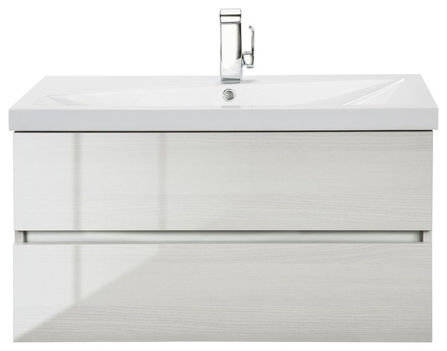 "sangallo wall-mounted vanity, high-gloss white birch, 36"" - modern"