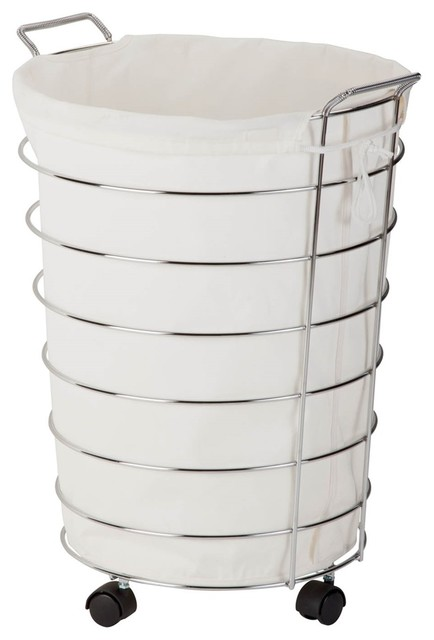Honey Can Do Chrome Rolling Hamper, White/chrome.