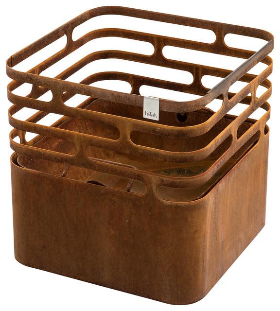 Cube Fire Basket, Rust