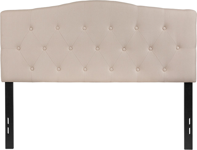 Cambridge Tufted Upholstered Full Size Headboard In Beige Fabric.