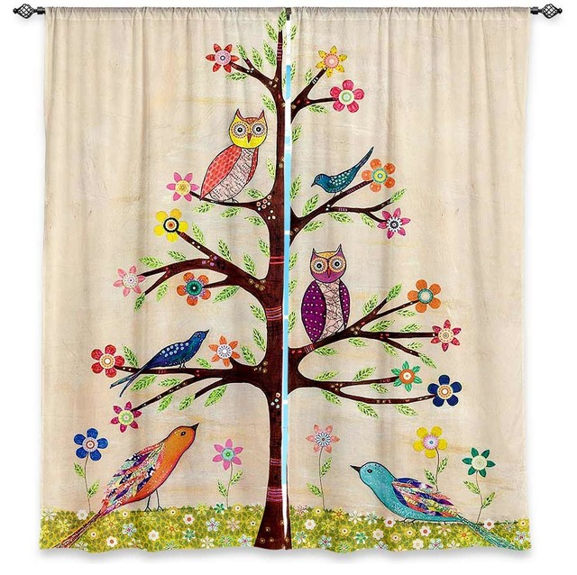 Kitchen Curtains bird kitchen curtains : DiaNoche Lined Window Curtains by Sascalia Owl Bird Tree 2 ...