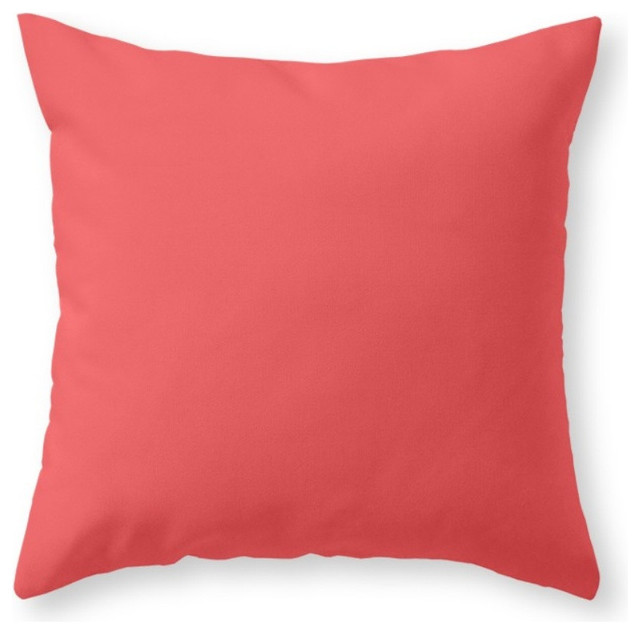 Solid Coral Throw Pillows : Society6 Solid Coral, Throw Pillow - Contemporary - Decorative Pillows - by Society6