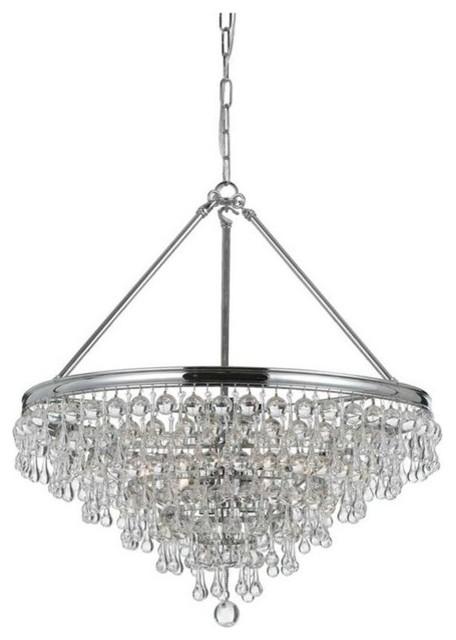 crystorama calypso 6 light crystal teardrop chrome chandelier - Crystorama